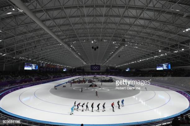 A general view during the Men's Speed Skating Mass Start Semifinal 1 on day 15 of the PyeongChang 2018 Winter Olympic Games at Gangneung Oval on...