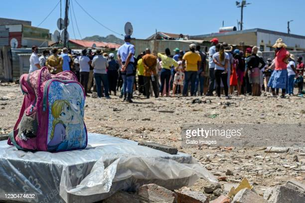 General view during the Minister of Social Development, Lindiwe Zulu visit to Masiphumelele Informal Settlement to offer support after a fire...