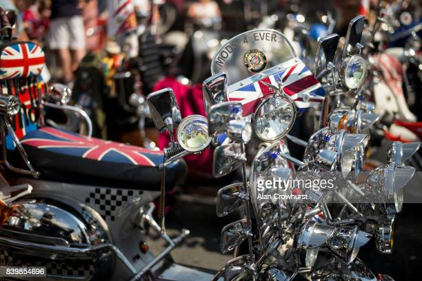 A general view during The Mod Weekender on August 27 2017 in Brighton England Brighton became the meeting place for Mods on their scooters in the...