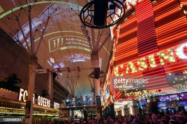 A general view during the Monster Energy NASCAR Cup Series Experience during the NASCAR Playoffs Party at the Fremont Street Experience on September...