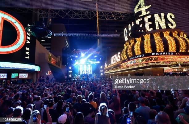 General view during the Monster Energy NASCAR Cup Series Experience during the NASCAR Playoffs Party at the Fremont Street Experience on September...