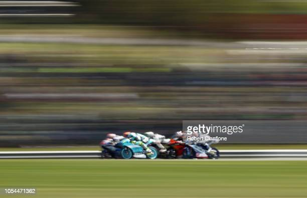 A general view during the Moto3 race during the 2018 MotoGP of Australia at Phillip Island Grand Prix Circuit on October 28 2018 in Phillip Island...