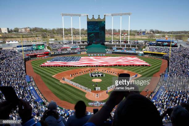 A general view during the National Anthem ahead of the Royals 2017 home opener between the Oakland Athletics and the Kansas City Royals at Kauffman...