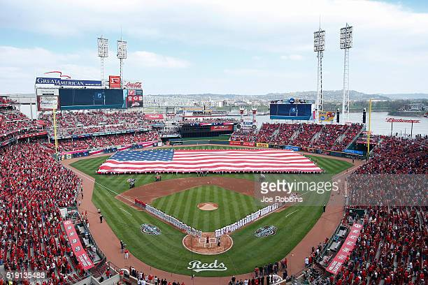 General view during the National Anthem as teams line up before the opening day game between the Philadelphia Phillies and Cincinnati Reds at Great...