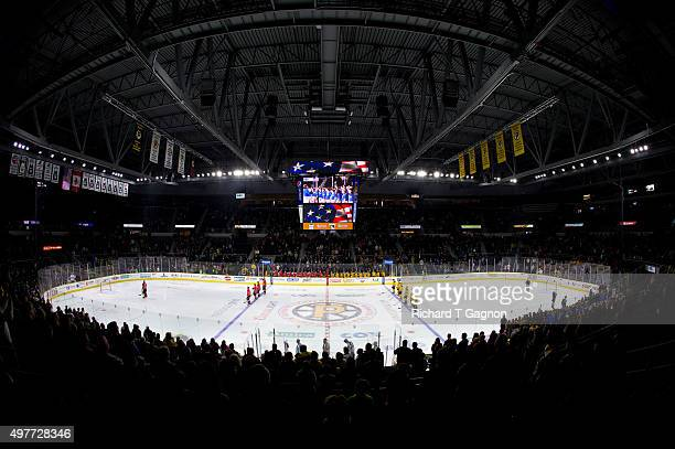 A general view during the national anthem before an American Hockey League game between the Providence Bruins and the Portland Pirates at the Dunkin'...