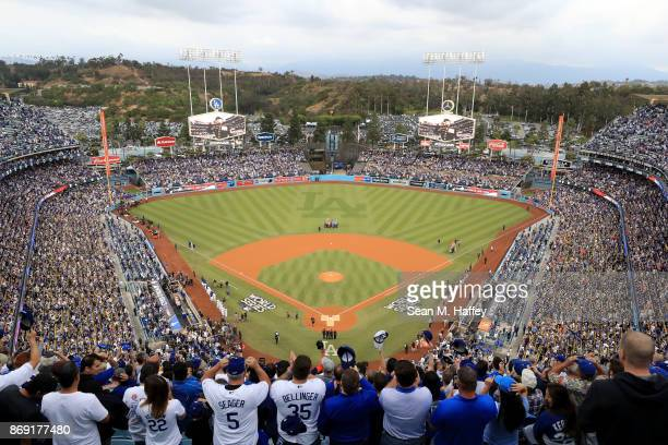 A general view during the national anthem before game seven of the 2017 World Series at Dodger Stadium on November 1 2017 in Los Angeles California