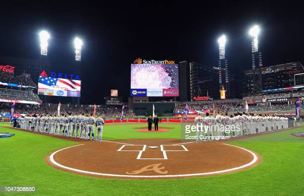 A general view during the national anthem before Game Three of the National League Division Series between the Los Angeles Dodgers and the Atlanta...