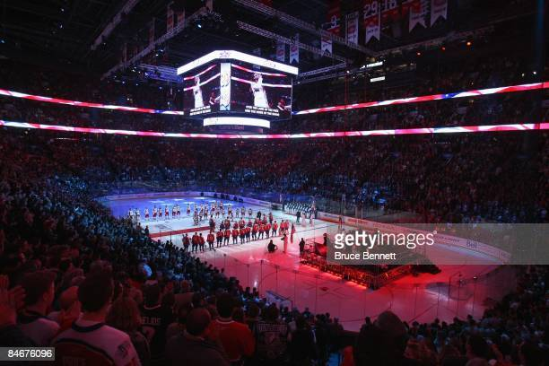 General view during the National Anthem before the 2009 NHL AllStar game at the Bell Centre on January 25 2009 in Montreal Canada