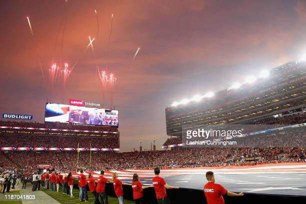 General view during the national anthem before the game between the San Francisco 49ers and the Seattle Seahawks at Levi's Stadium on November 11,...
