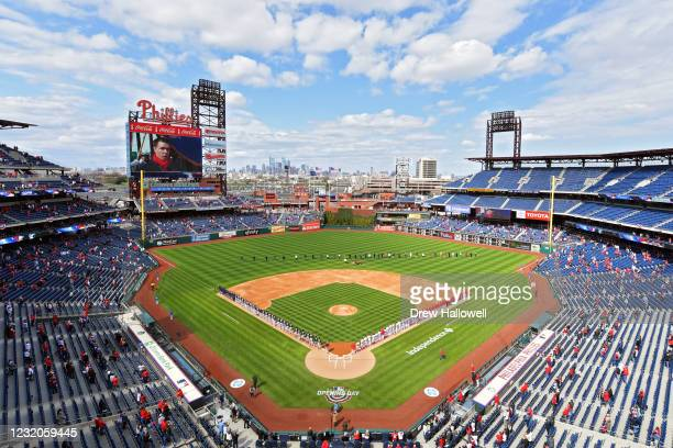 General view during the national anthem before the start of the game between the against the Atlanta Braves and against the Philadelphia Phillies on...