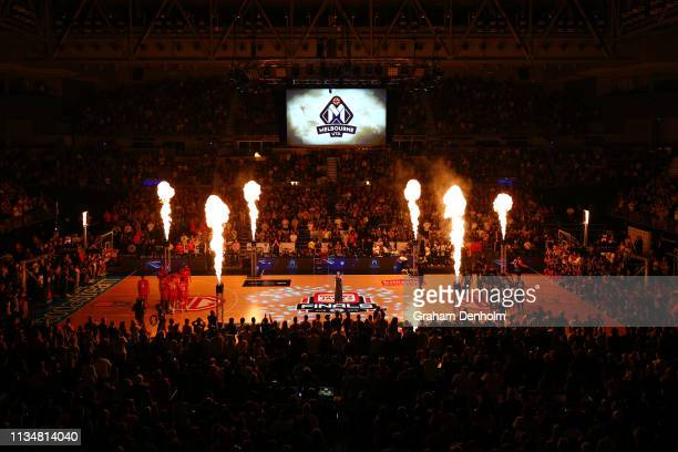 General view during the national anthem during game two of the NBL Grand Final Series between Melbourne United and the Perth Wildcats at Melbourne...