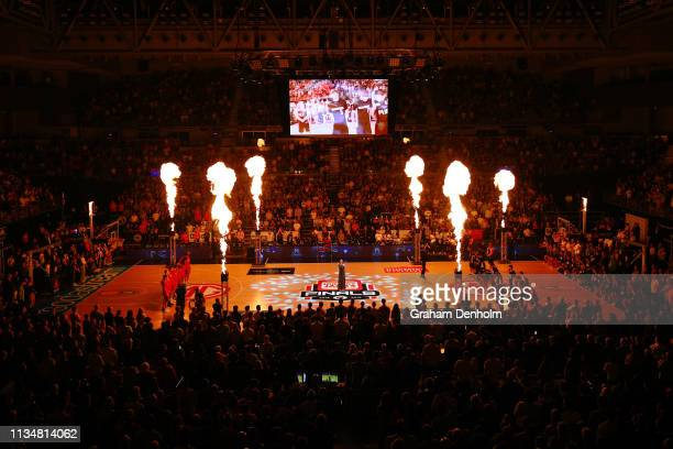 A general view during the national anthem during game two of the NBL Grand Final Series between Melbourne United and the Perth Wildcats at Melbourne...
