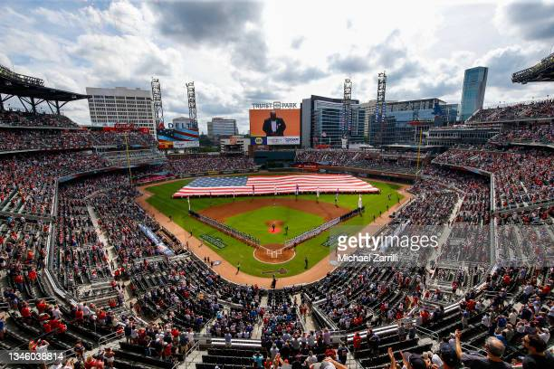 General view during the national anthem in game 3 of the National League Division Series between the Atlanta Braves and the Milwaukee Brewers at...