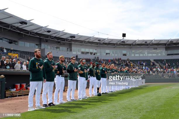 General view during the national anthem prior to a Spring Training game between the Oakland Athletics and the Kansas City Royals on Sunday February...