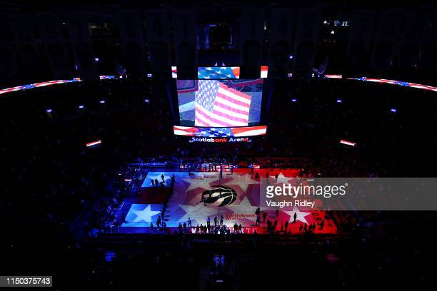 A general view during the national anthem prior to game three of the NBA Eastern Conference Finals between the Milwaukee Bucks and the Toronto...