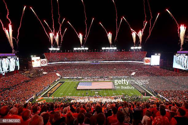 General view during the national anthem prior to the 2017 College Football Playoff National Championship Game between the Alabama Crimson Tide and...