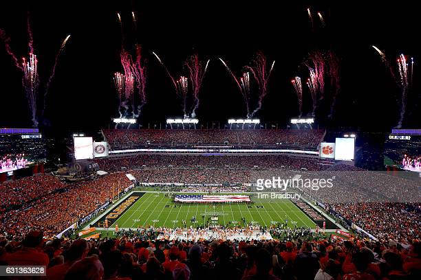 A general view during the national anthem prior to the 2017 College Football Playoff National Championship Game between the Alabama Crimson Tide and...