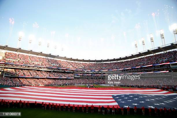 A general view during the national anthem prior to the 2019 MLB AllStar Game presented by Mastercard at Progressive Field on July 09 2019 in...