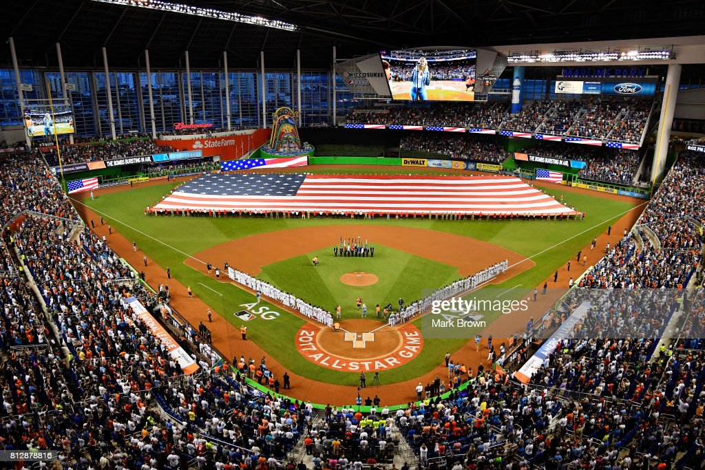 A general view during the national anthem prior to the 88th MLB All-Star Game at Marlins Park on July 11, 2017 in Miami, Florida.