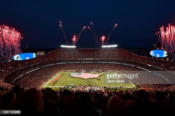 A general view during the national anthem prior to the AFC Championship Game between the New England Patriots and the Kansas City Chiefs at Arrowhead...