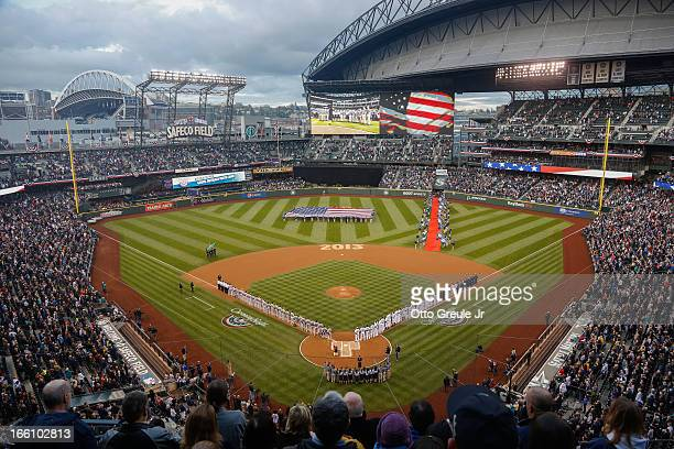 A general view during the National Anthem prior to the game between the Seattle Mariners and the Houston Astros on Opening Day at Safeco Field on...