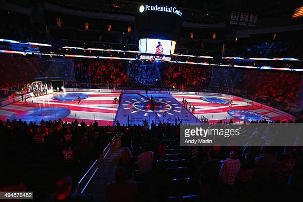 A general view during the national anthem prior to the game between the Columbus Blue Jackets and the New Jersey Devils at the Prudential Center on...