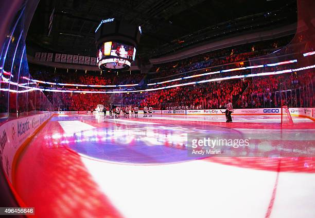 A general view during the national anthem prior to the game between the New Jersey Devils and the Chicago Blackhawks at the Prudential Center on...
