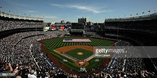 A general view during the National Anthem prior to the game between the Cleveland Indians and the New York Yankees during opening day at the new...