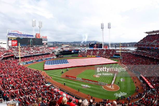 A general view during the national anthem prior to the Opening Day game between the Cincinnati Reds and Washington Nationals at Great American Ball...