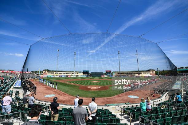General view during the National Anthem prior to the spring training game between the Miami Marlins and the St. Louis Cardinals at Roger Dean...