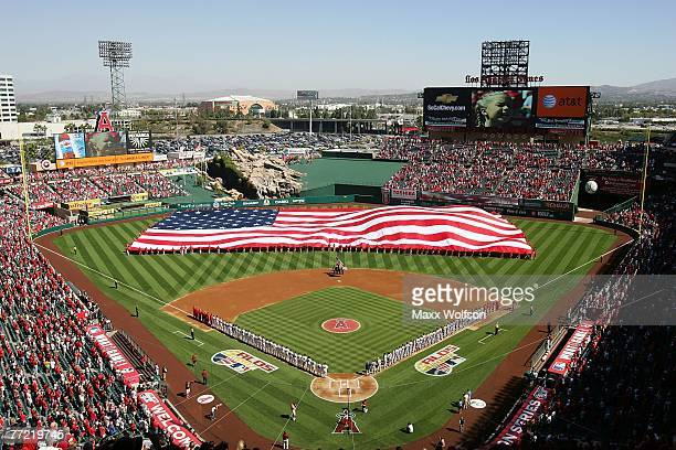 A general view during the national anthem prior to the start of Game Three of the American League Divisional Series between the Boston Red Sox and...