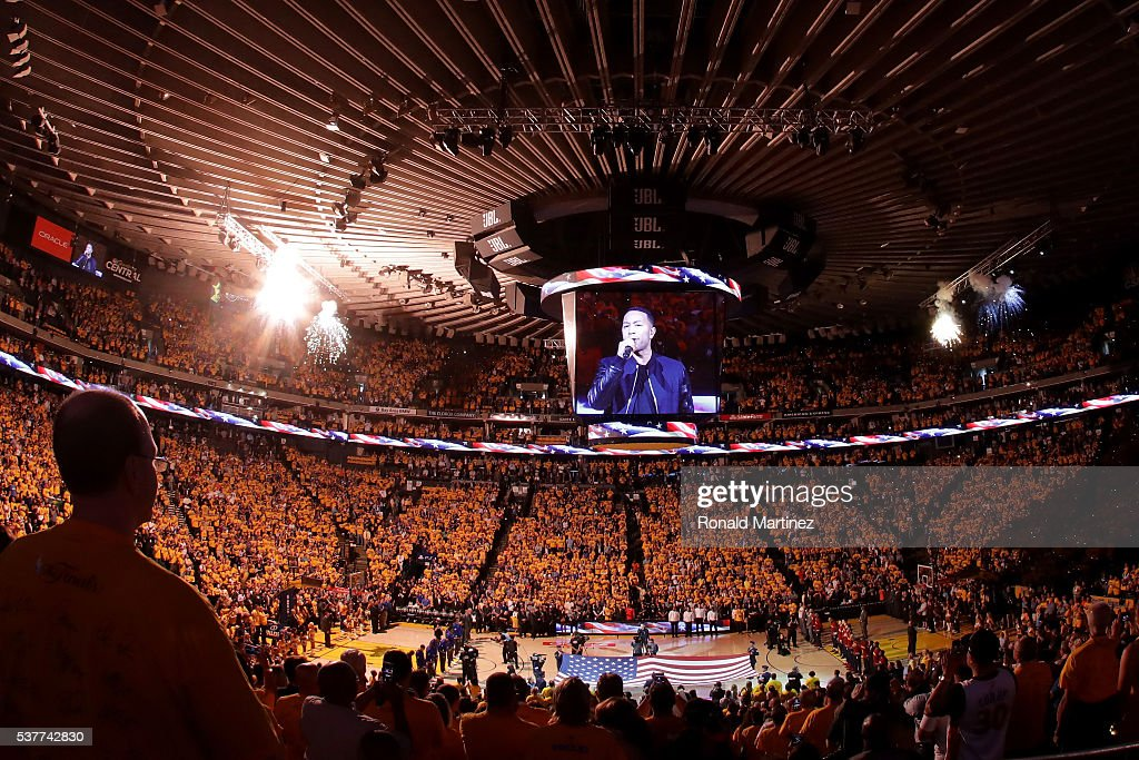A general view during the national anthem sung by John Legend before Game 1 of the 2016 NBA Finals between the Cleveland Cavaliers and the Golden State Warriors at ORACLE Arena on June 2, 2016 in Oakland, California.