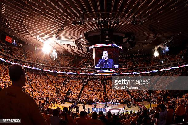 A general view during the national anthem sung by John Legend before Game 1 of the 2016 NBA Finals between the Cleveland Cavaliers and the Golden...