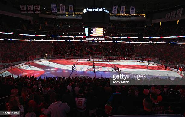 A general view during the national anthems just prior to the start of the game between the Montreal Canadiens and the New Jersey Devils at the...