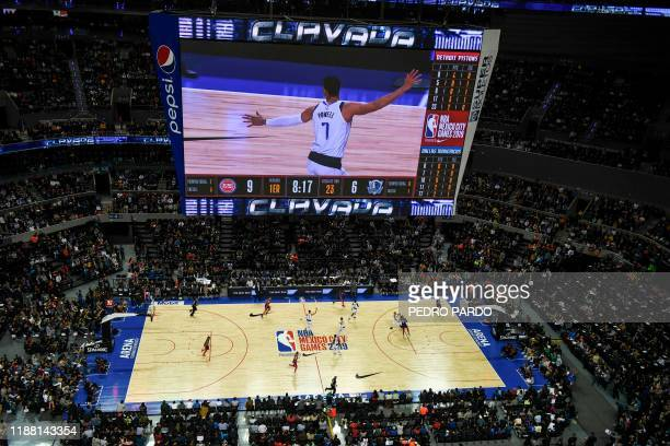 TOPSHOT General view during the NBA Global Games match between Dallas Mavericks and Detroit Pistons at the Mexico City Arena on December 12 in Mexico...