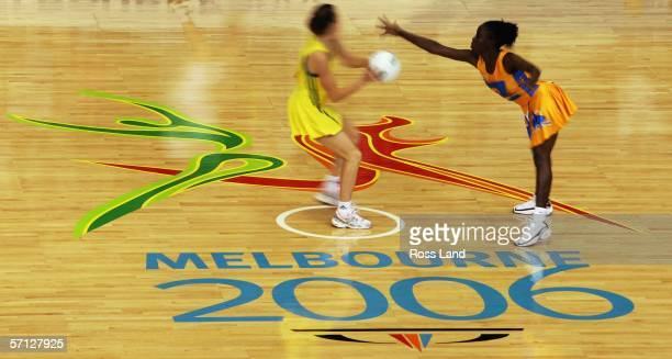 A general view during the netball match between Australia and Barbados on Day Four of the 18th Commonwealth Games at the State Netball Centre March...
