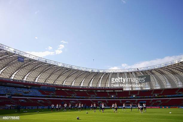 A general view during the Netherlands training session at the 2014 FIFA World Cup Brazil held at the Estadio BeiraRio on June 17 2014 in Porto Alegre...