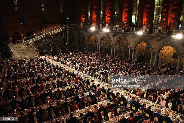 General view during the Nobel Foundation Prize 2007 Gala Dinner at the City Hall on December 10, 2007 in Stockholm, Sweden.