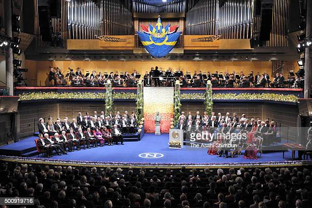 A general view during the Nobel Prize Awards Ceremony at Concert Hall on December 10 2015 in Stockholm Sweden