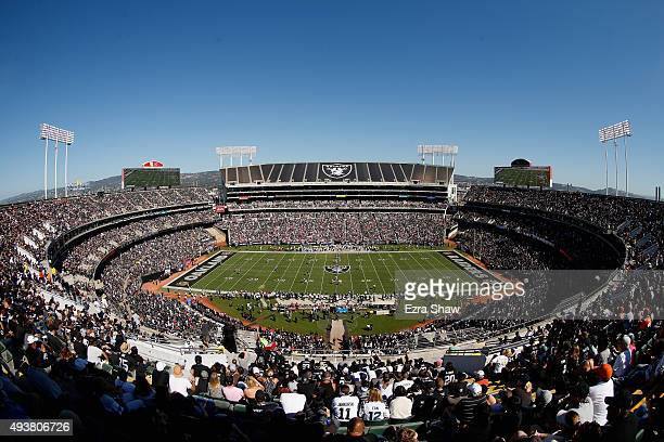 A general view during the Oakland Raiders game against the Denver Broncos at Oco Coliseum on October 11 2015 in Oakland California