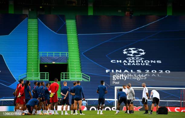 General view during the Olympique Lyonnais Training Session ahead of the UEFA Champions League match between Manchester City and Olympique Lyonnais...