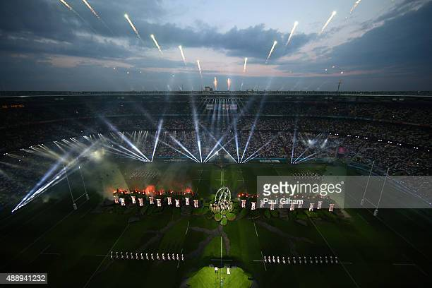 General view during the opening ceremony ahead of the 2015 Rugby World Cup Pool A match between England and Fiji at Twickenham Stadium on September...