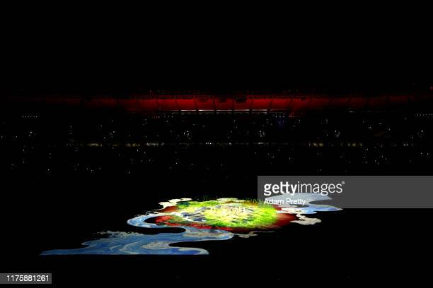 A general view during the opening ceremony ahead of the Rugby World Cup 2019 Group A game between Japan and Russia at the Tokyo Stadium on September...