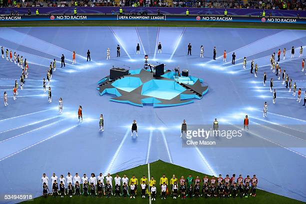 A general view during the opening ceremony as the players line up on the pitch prior to the UEFA Champions League Final match between Real Madrid and...