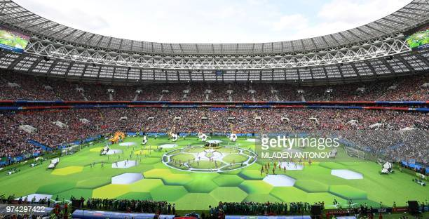A general view during the opening ceremony before the Russia 2018 World Cup Group A football match between Russia and Saudi Arabia at the Luzhniki...