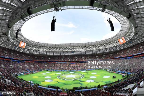 TOPSHOT A general view during the opening ceremony before the Russia 2018 World Cup Group A football match between Russia and Saudi Arabia at the...