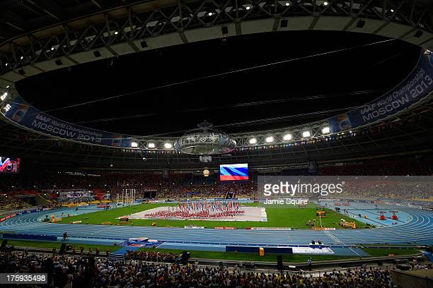 A general view during the opening ceremony during Day One of the 14th IAAF World Athletics Championships Moscow 2013 at Luzhniki Stadium on August 10...
