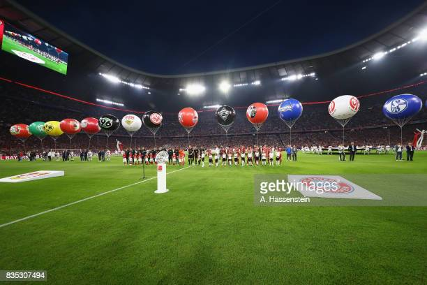 General view during the opening ceremony for the Bundesliga match between FC Bayern Muenchen and Bayer 04 Leverkusen at Allianz Arena on August 18...