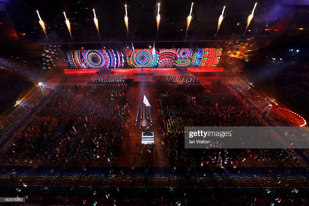 A general view during the Opening Ceremony for the Glasgow 2014 Commonwealth Games at Celtic Park on July 23, 2014 in Glasgow, Scotland.
