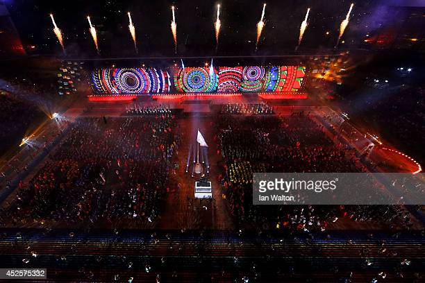 A general view during the Opening Ceremony for the Glasgow 2014 Commonwealth Games at Celtic Park on July 23 2014 in Glasgow Scotland